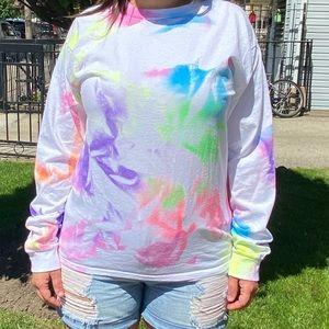 Hanes neon tie-dye long sleeve t-shirt